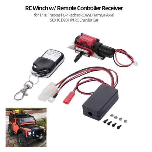 RC Winch w/ Remote Controller Receiver for 1/10 Traxxas HSP Redcat RC4WD Tamiya Axial SCX10 D90 HPI RC Crawler Car