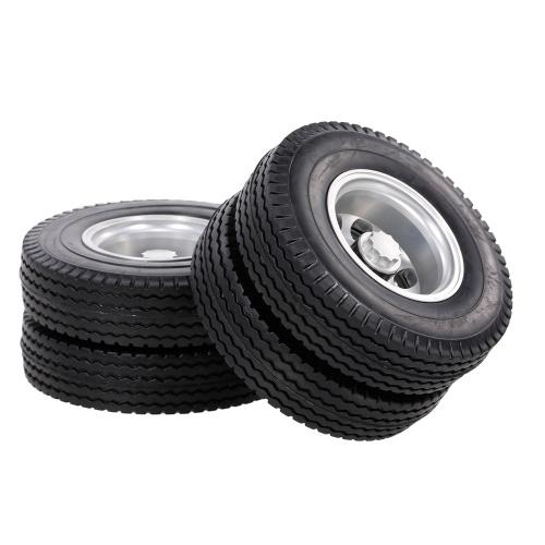 Pneumatici per cerchioni per camion anteriore e posteriore in lega di alluminio 6 pezzi compatibili con camion trattore Tamiya 1/14 RC (tipo-10)