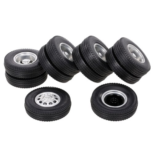 6PCS Aluminum Alloy Front & Rear Truck Wheel Rim Tires Compatible with Tamiya 1/14 RC Tractor Truck( type-10) Image