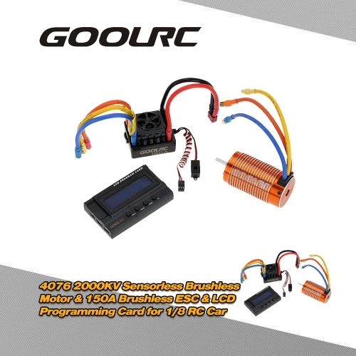 GoolRC 4076 2000KV Sensorless Brushless Motor & 150A Brushless ESC with 8.4V/3A Switch Mode BEC & LCD Programming Card Combo Set for 1/8 RC Car