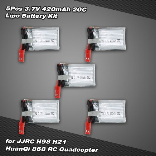 Zestaw 5szt 3.7V 420mAh 20C Lipo Battery for JJR / C H21 HuanQi 868 RC Quadcopter