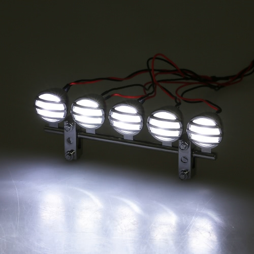 G.T.POWER 5 Spotlight  Electroplate LED RC Roof Light Bar Set for RC Crawlers