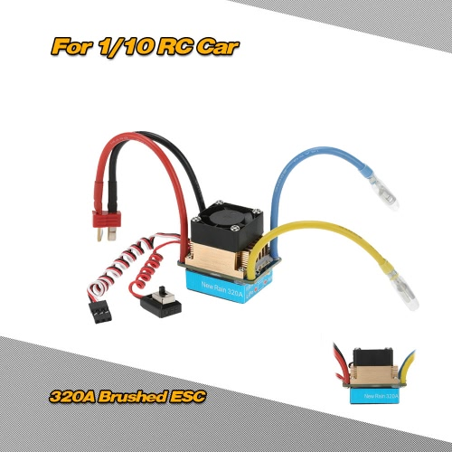 Waterproof 320A Brushed ESC Electronic Speed Controller with 5V/3A BEC T-Plug for 1/10 RC Car