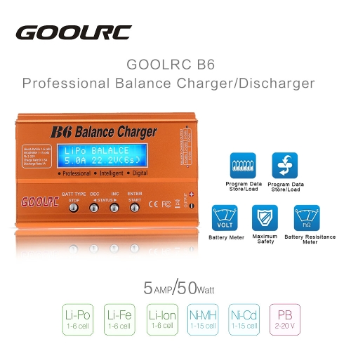 Original GoolRC B6 Mini Multi-functional Balance Charger/Discharger for LiPo Lilon LiFe NiCd NiMh Pb RC Battery