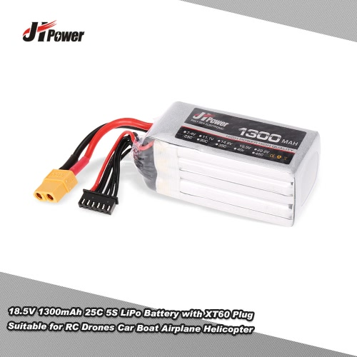 JHpower 18.5V 1300mAh 25C 5S LiPo Battery with XT60 Plug for RC Drones Car Boat Airplane Helicopter