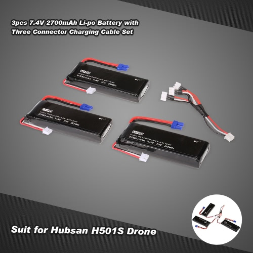 3pcs 7.4V 2700mAh 10C Li-po Battery with 1pcs Three Connector Charging Cable Set H501S-001 for Hubsan H501S FPV RC Quadcopter