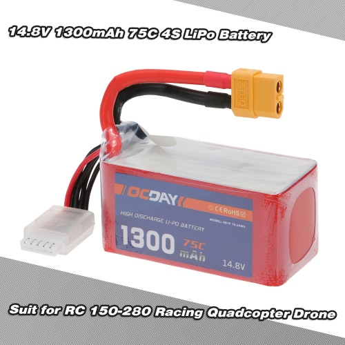 OCDAY 14.8V 1300mAh 75C 4S High Discharge LiPo Battery with XT60 Plug for RC 150-280 Racing Quadcopter QAV180 QAV250 ZMR250 Drone