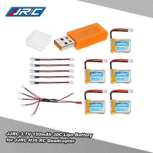 5pcs originale JJR / C 3.7V 150mAh 30C Lipo Batterie e caricatore USB e 5 in 1 cavo di ricarica per JJR / C H36 RC Quadcopter