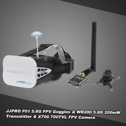 JJRC JJPRO F01 5.8G 64CH FPV Goggles WR200 5.8G 200mW AV Transmitter X700 700TVL FPV Camera Set for QAV250 Racer250 GoolRC 210 FPV Racing Quadcopter