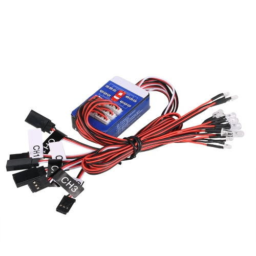 12 Kit de sistema de iluminación LED Freno de dirección Smart simulación de luces de flash para modelos de escala 1/10 RC Car Yokomo Tamiya HSP HPI AXIAL RC4WD Traxxas