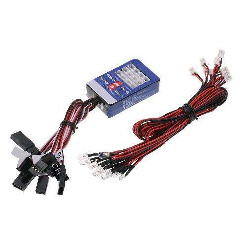 12 LED照明システムキットステアリングブレーキスマートシミュレーションフラッシュライト1/10スケールモデル、RCカーヨコモタミヤHSP HPI AXIAL RC4WD TRAXXAS用