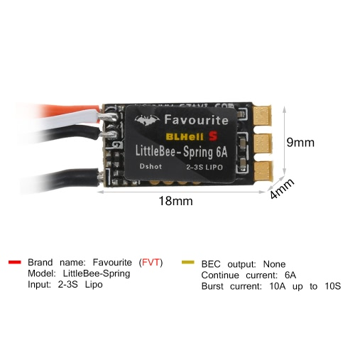 Favourite LittleBee-Spring BLHeli_S 6A 2-3S OPTO Brushless ESC Dshot for 70-90mm Micro FPV Racing Drone