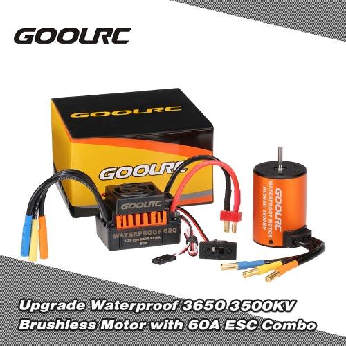 Asciende a prueba de agua GoolRC 3650 3500KV motor sin escobillas con ESC 60A Conjunto de Conjunto de 1/10 RC del coche del carro