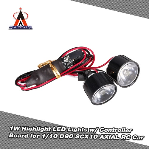 AUSTAR AX-006B 1W Highlight LED Lights w/ Controller Board for 1/10 Rock Crawler Traxxas Redcat  AXIAL RC Car