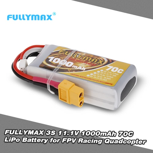 FULLYMAX 3S 11.1V 1000mAh 70C High Rate XT60 Plug LiPo Battery for QAV210 250 LS180 FPV Racing Quadcopter RC Car Boat