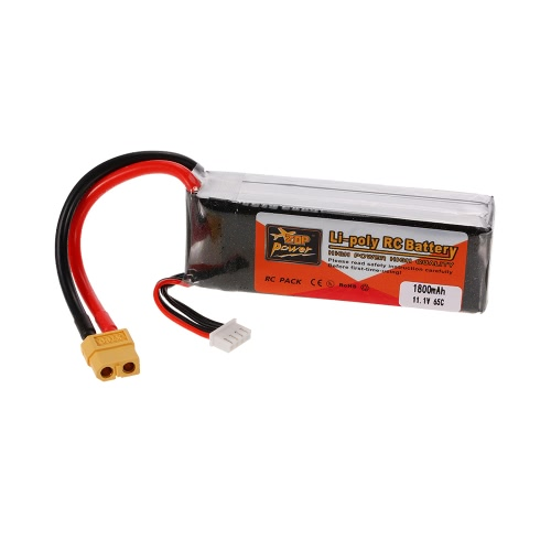 ZOP Power 3S 11.1V 1800mAh 65C XT60 Plug LiPo Battery for 210 250 Racing Drone 450 Helicopter RC Car Boat