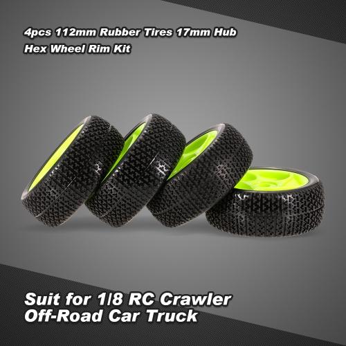 4pcs 112mm Rubber Tires 17mm Hub Hex Wheel Rim for 1/8 RC Crawler Buggy Off-Road Car Truck