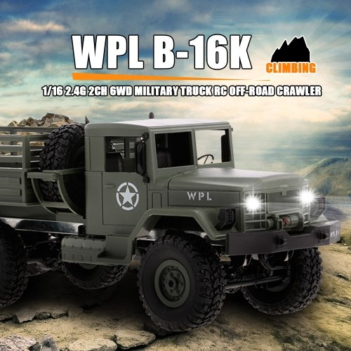 WPL B-16K 1/16 6WD Military Truck RC Off-road Crawler with Light Motor & Servo KIT DIY Kids Toy