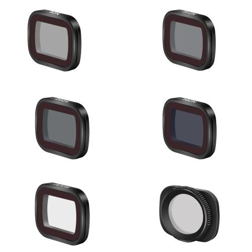 Kit de filtro de lente magnética compatible con DJI Pocket 2 OSMO Pocket Camera Filtro de vidrio óptico con revestimiento múltiple Paquete de 6 (ND8 / ND16 / ND32 / ND64 / MCUV / CPL)