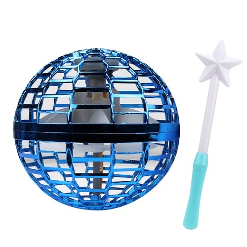 Hand Operated Drone Flying Spinner Toys Ball with LED Light Bar Remote Control Wand Small Spining UFO Toys for Adults Kids Drop-Resistant Safe Game Gift Indoor Outdoor