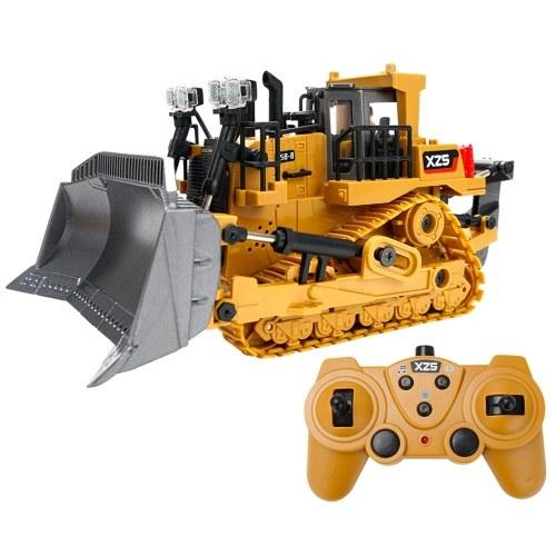 1:24 2.4G 9CH RC Бульдозер RC Тягач Строительные инженерные машины с одной ключевой демонстрационной светодиодной функцией имитации звука (ковш из сплава)