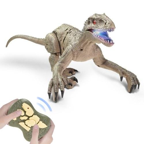 2.4 Ghz Simulation RC Velociraptor Realistic Dino Remote Control Dinosaur with LED Light Рев