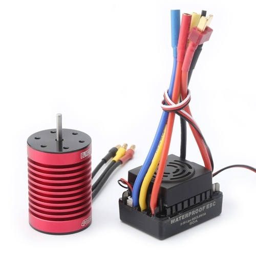 F540 Brushless Motor 3000KV RC Crawler Motor 4 Poles and 60A Brushless ESC Electric Speed Controller T Plug for 1/10 RC Car