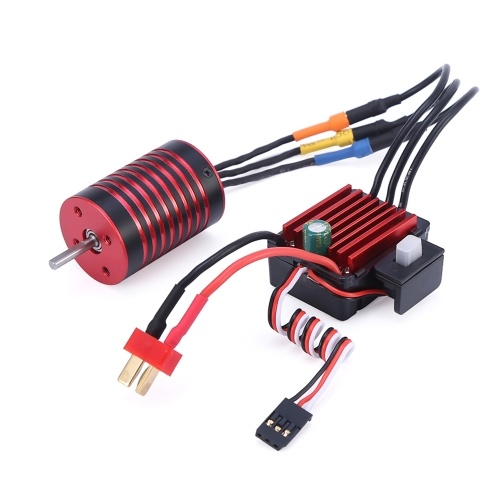 4700KV Brushless Motor and 35A ESC Combo Set 2s T plug Waterproof Compatible with Traxxas HSP Tamiya Axial 1/16 1/12 RC Car