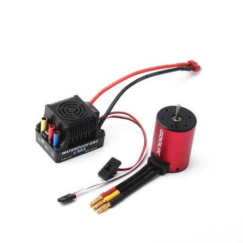 GoolRC 3650 Brushless Motor 3900KV and 60A Brushless ESC Electric Speed Controller for 1/10 RC Car