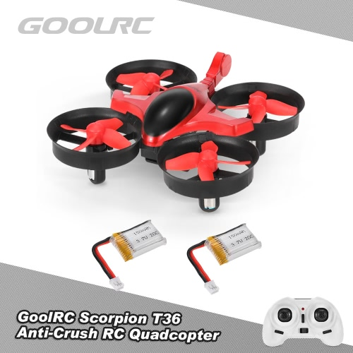 GoolRC Scorpion T36 2.4G 4CH 6-Axis Gyro 3D-Flip Anti-Crush UFO RC Quadcopter RTF Drone with 1 Extra Battery Great Gifts Toys