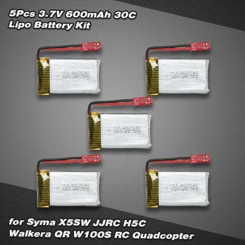 5Pcs 3.7V 600mAh 30C Lipo Battery Kit for Syma X5SW JJRC H5C Walkera QR W100S RC Quadcopter