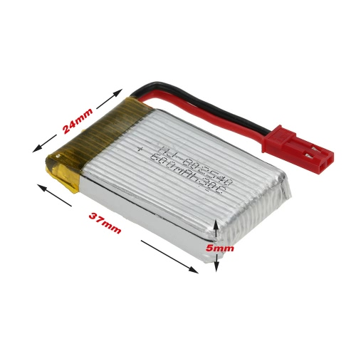 5Pcs 3.7V 600mAh 30C Lipo Battery Kit pour Syma X5SW JJRC H5C Walkera QR W100S RC Quadcopter