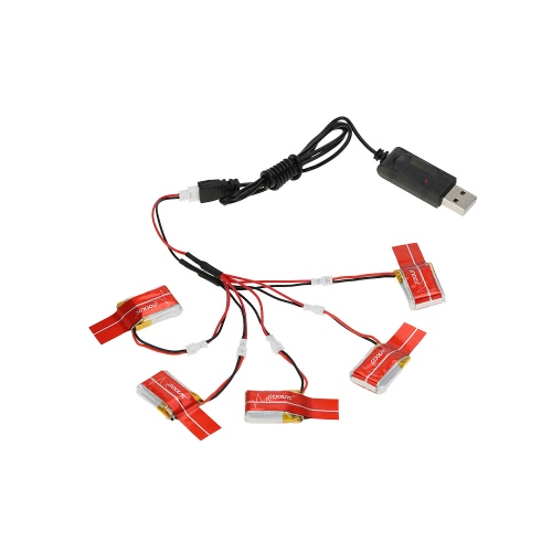 GoolRC 5Pcs 3.7V 150mAh 30C Lipo Battery with Charging Cable for JJRC H20 RC Hexacopter