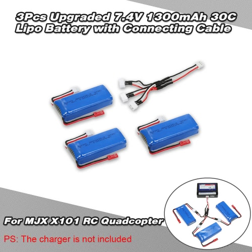 3Pcs Upgraded 7.4V 1300mAh 30C Lipo Battery with Connecting Cable for MJX X101 RC Quadcopter
