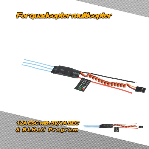 12A Brushless ESC Electronic Speed Controller with 5V/1A BEC & BLHeli Program for DIY QAV250 Quadcopter Multicopter