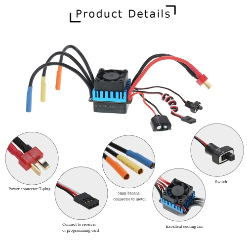 3650 3300KV/4P Brushless Motor & 45A Brushless ESC & LED Programming Card Combo Set for 1/10 RC Car
