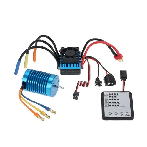 3650 3300KV / 4P Brushless Motor & 45A sin escobillas ESC y LED de programación de la tarjeta de Combo Set para 1/10 RC Car