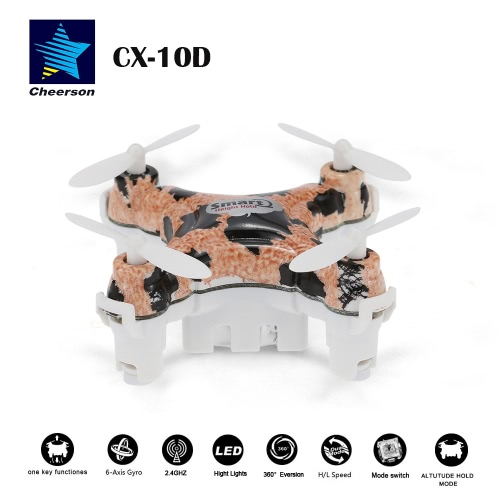 Originale Cheerson CX - 10D 4CH 6-Axis Gyro RTF Mini RC Quadcopter con flip 360° e altezza funzione Hold
