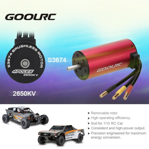 Original GoolRC S3674 2650KV 4 Poles Brushless Sensorless Motor for 1/8 RC Car Truck