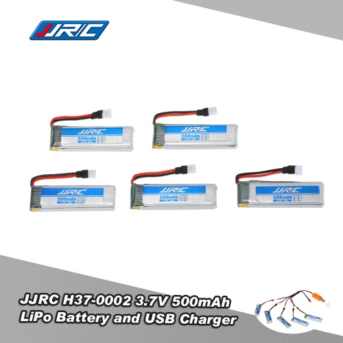 5Pcs Original JJR/C H37-0002 3.7V 500mAh 20C LiPo Battery and USB Charger Set for JJR/C H37 GoolRC T37 E50 Selfie Drone RC Quadcopter
