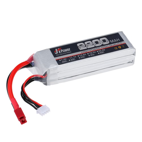 JHpower 11.1V 2200mAh 25C 3S Li-Po Battery with T Plug for RC Car Airplane T-REX 450 Helicopter