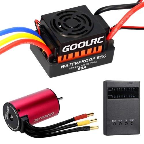 GoolRC S3660 3300KV Sensorless Brushless Motor 60A Brushless ESC and Programming Card Combo Set for 1/10 RC Car Truck