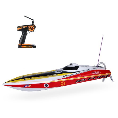 Original VANTEX Flame Racing Boat 1300BP 60km/h High Speed Electric Fiberglass RC Boat with FS-GT2 2.4G Transmitter