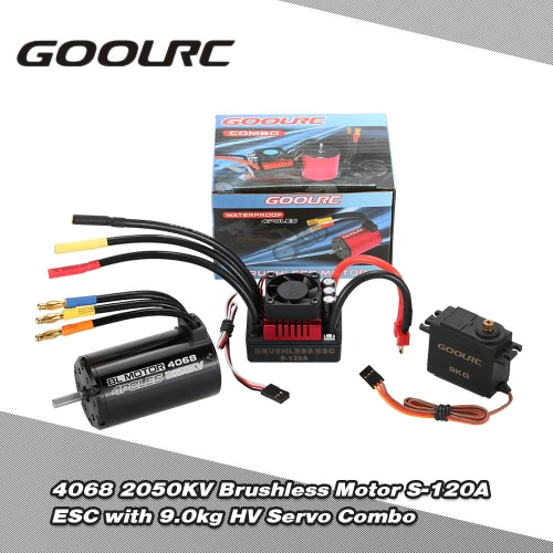 GoolRC 4068 2050KV Brushless Motor S-120A ESC with 9.0kg HV Servo Upgrade Brushless Combo Set for 1/8 RC Car Truck