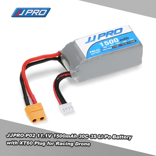 JJR/C JJPRO 11.1V 1500mAh 30C 3S Li-Po Battery XT60 Plug for P175 P200 QAV180 200 QAV250 ZMR250 RC Quadcopter Drone