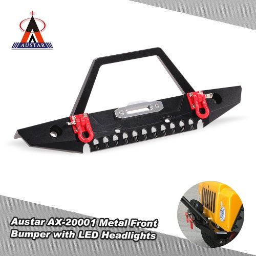 Austar AX-20001 Metal Front Bumper Bull Bar with LED Headlights Winch Mount Seat for 1/10 AXIAL SCX10 RC Rock Crawler