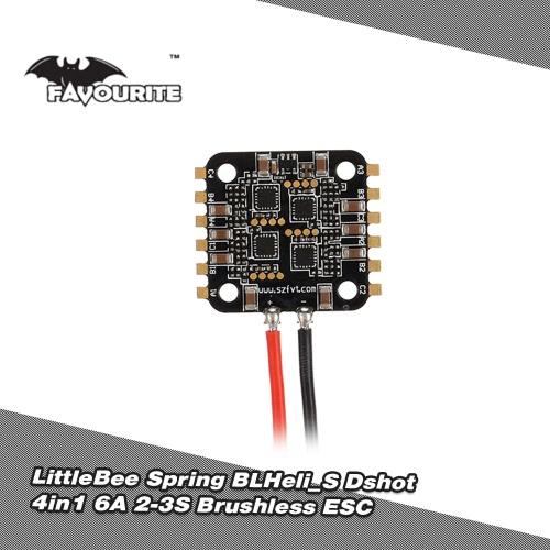 Favourite FVT LittleBee Spring BLHeli_S Dshot 6A 4in1 2-3S Brushless ESC for 70-90mm FPV Racing Drone
