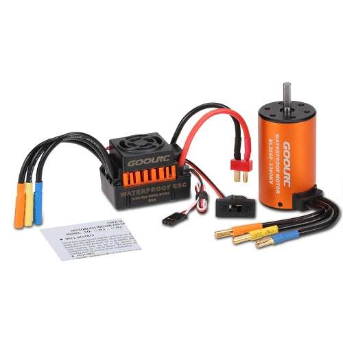 GoolRC Upgrade Waterproof 3660 3300KV Brushless Motor with 60A ESC Combo Set for 1/10 RC Car Truck, TOMTOP  - buy with discount