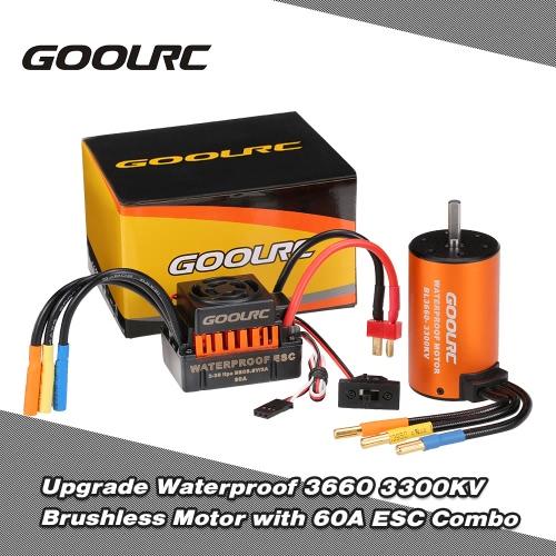1/10 RC車のトラックのために60A ESCコンボセットと防水3660 3300KVブラシレスモーターをアップグレードGoolRC