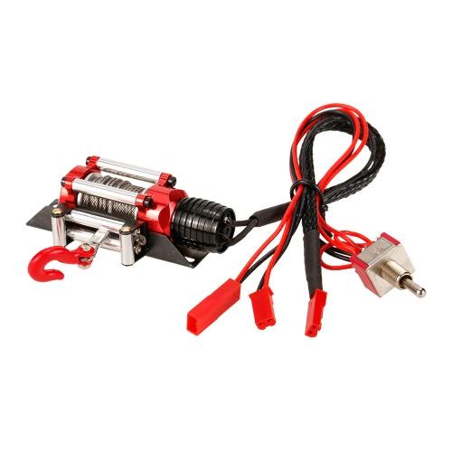 金属鋼鉄ワイヤード自動模擬ウインチ、1/10 Traxxas用スイッチ付きHSP Redcat HPI TAMIYA CC01アキシャルSCX10 RC4WD D90 RCロッククローラー